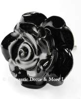 Romantic Decor & More Rose Ceramic Knobs, Cupboard Drawer Pulls & Handles Set/4pc ~ C27 Hand Painted Vintage Ceramic Rose Knobs for Cupboards, Cabinets & Vanity with Chrome Hardware
