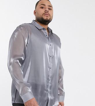 ASOS DESIGN Plus regular fit silver high shine shirt