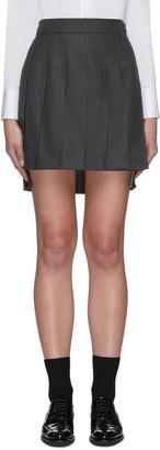 Thom Browne High-low hem pleated wool twill mini skirt