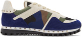 Valentino White and Blue Camo Rockstud Sneakers