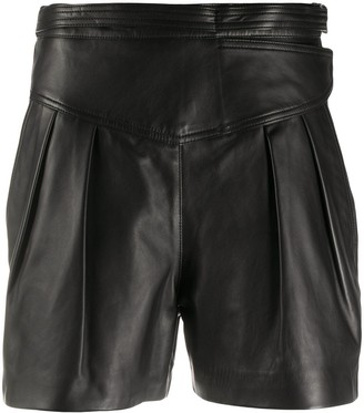 RED Valentino High-Waisted Leather Shorts