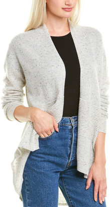 Hannah Rose High-Low Ottoman Rib Cashmere Cardigan