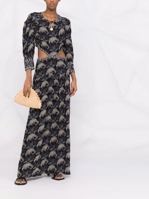 BA&SH Floral-Print Cut-Out Dress