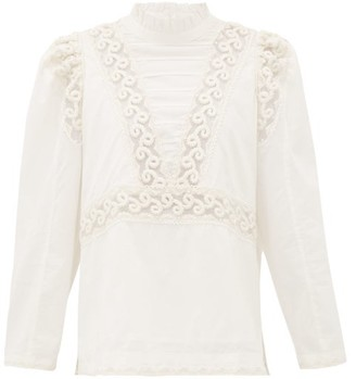 Sea Victoria Embroidered Pintucked Cotton Blouse - White