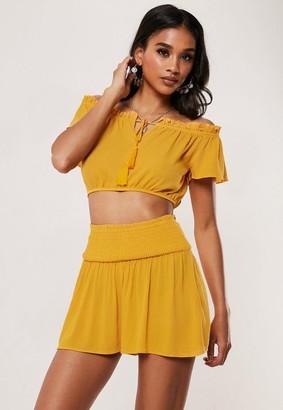 Missguided Mustard Shirred Shorts