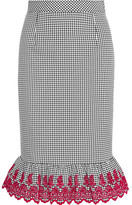 Altuzarra Benson Broderie Anglaise-trimmed Gingham Stretch-cotton Skirt - Black