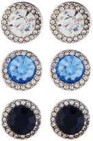 Fragments for Neiman Marcus Round Crystal Stud Earring Trio, Set of Three, Blue