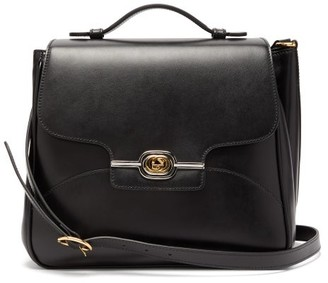 Gucci GG-plaque Leather Messenger Bag - Mens - Black