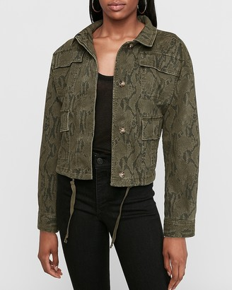 Express Snakeskin Print Cropped Twill Jacket