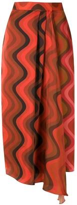 Andrea Marques Silk Wrap Midi Skirt