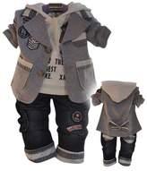 WEONEDREAM Baby Boys 3 Pieces Cloth Sets Shirts + Windbreaker Jacket + Jeans Pants (New Yellow,12M)