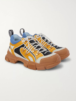 Gucci Flashtrek Rubber, Leather, Mesh And Suede Sneakers - Yellow