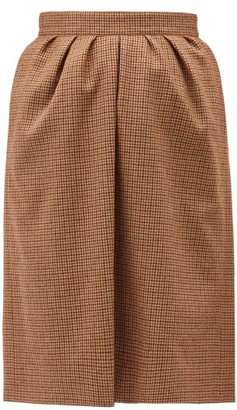 Chloé Houndstooth Wool Skirt - Brown Multi