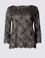 Marks and Spencer 3/4 Sleeve Slash Neck Lace Jersey Top