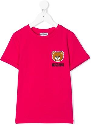 MOSCHINO BAMBINO logo teddy embroidered T-shirt