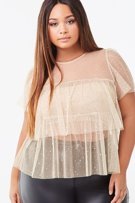Forever 21 Plus Size Tulle Sequin Top