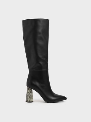 Charles & Keith Knee High Heeled Boots