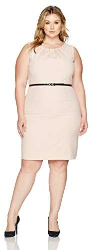 Women`s Plus Size S-l Pleat Jewel Neck Stretch Crepe Dress with