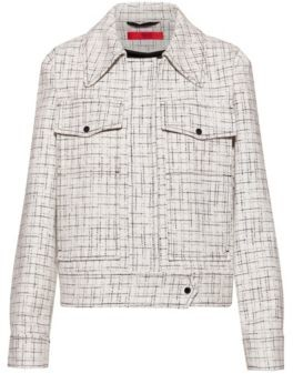 HUGO BOSS Relaxed Fit Jacket In A Tweed Inspired Check - White