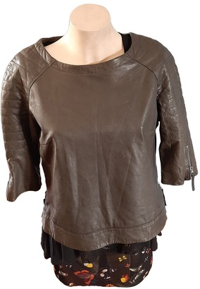AllSaints Grey Leather Top for Women