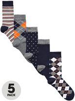 Very 5 Pk Multi Pattern Socks Multi