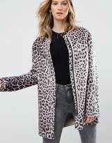 Pepe Jeans Waver Leopard Print Collarless Coat