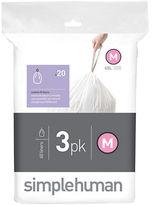 Simplehuman Three Pack 20 Custom-Fit Trash Can Liners-Code M