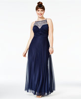 B. Darlin Trendy Plus Size Embellished Pleated Gown