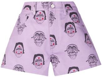 Kirin Mask Print Denim Shorts