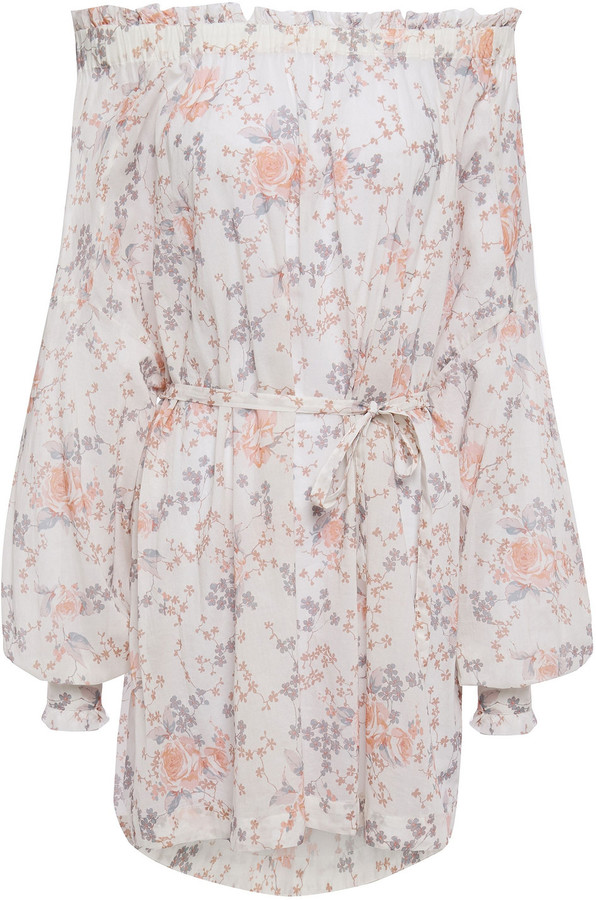 Maje Ragtime Off-the-shoulder Floral-print Cotton-voile Mini Dress