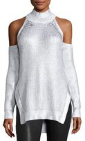 Thierry Mugler Metallic Mock-Neck Cold-Shoulder Sweater, White