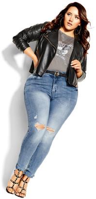 City Chic Asha Grit Skinny Jean - mid denim