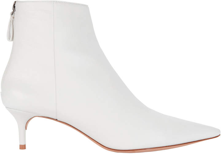 Alexandre Birman White Leather Kitten Booties
