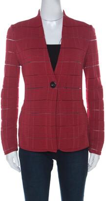 Giorgio Armani Red Rib Knit Single Button Jacket S