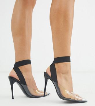 ASOS DESIGN Partner elastic stiletto heels in clear/black