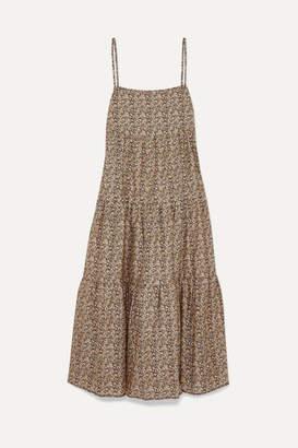 BEIGE Matteau - Floral-print Tiered Cotton-poplin Maxi Dress