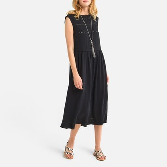 La Redoute Collections Cotton Sleeveless Dress with Spoke Stitched Detail