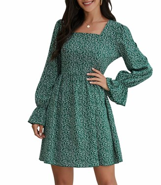 VJJ AIDEAR Women's Seaside Holiday Floral Skirt Square Collar Long Lantern Sleeve Ruffles Sleeves Mini Dress Knee Length (Green L)