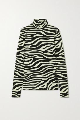 Proenza Schouler White Label - Zebra-print Stretch-cotton Jersey Turtleneck Top - Mint