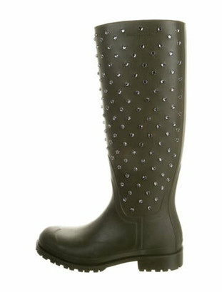 Saint Laurent Rubber Crystal Embellishments Rain Boots Green