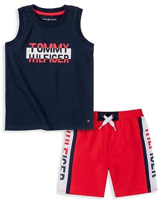 Tommy Hilfiger Little Boy's 2-Piece Muscle Tank Swim Shorts Set