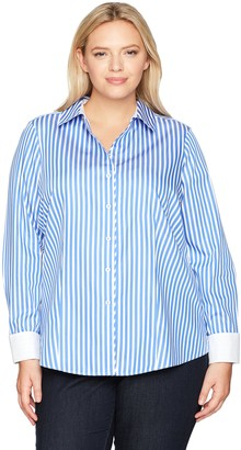 Foxcroft Women's Petite Lauren Sateen Stripe Non Iron Shirt