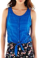 JCPenney I 'Heart' Ronson® Sleeveless Tie-Waist Top