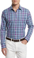 Peter Millar Multi-Plaid Long-Sleeve Sport Shirt, Blue