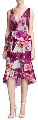 Marchesa Orchid Silk Organza Ruffle Dress