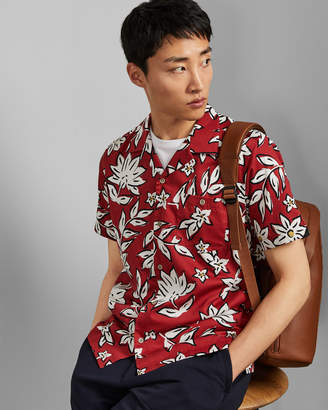 Ted Baker GREG Revere collar floral cotton shirt