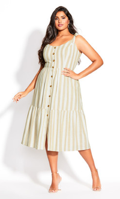 City Chic Stripe Stroll Dress - ivory