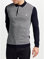 Fred Perry Long Sleeve Knitted Polo Shirt, Navy