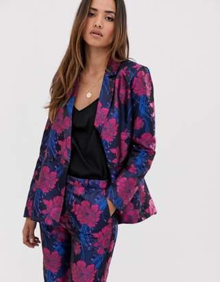 MBYM metallic floral jacquard suit jacket-Multi