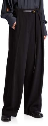 The Row Brona Belted Wool Wide-Leg Pants